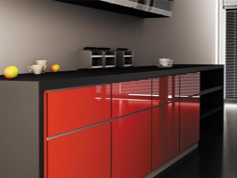 Aluminum Extruded Handle Piano Aluminum Glass Cabinet Doors