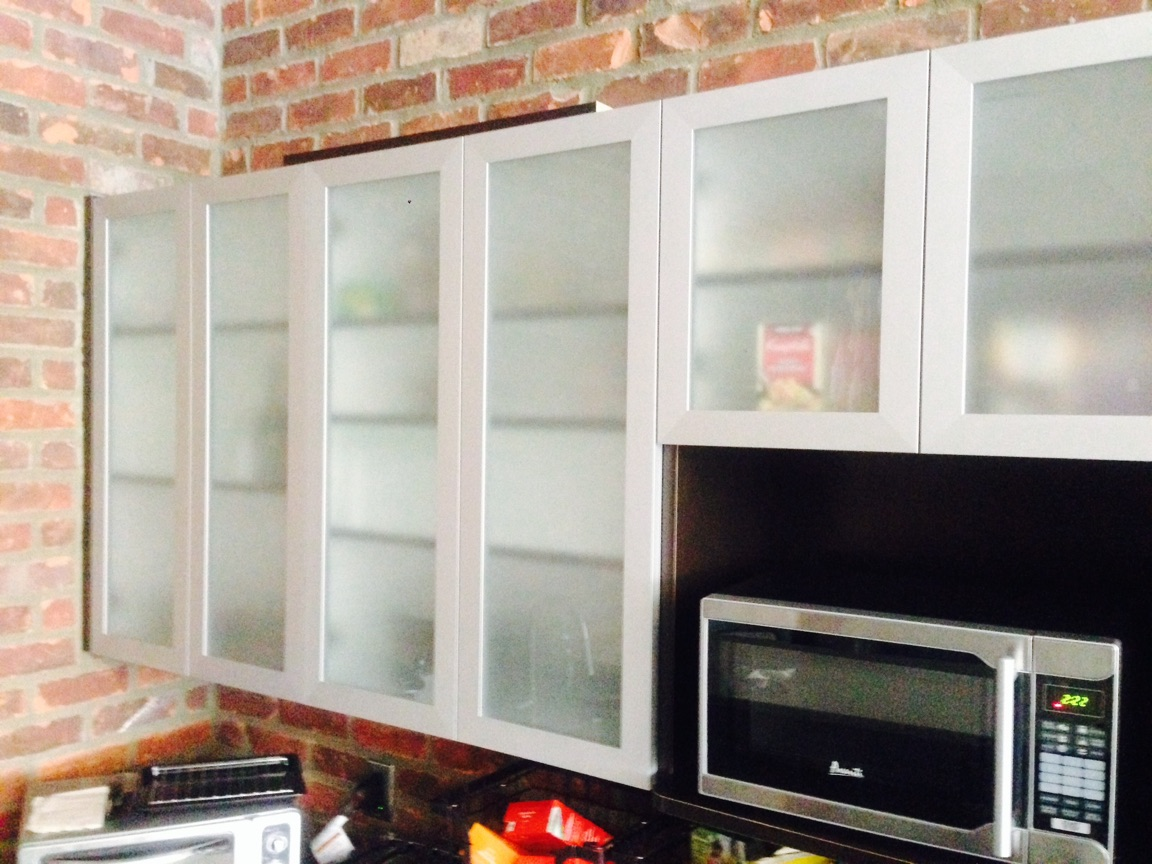 Aluminum Frame Glass Cabinet Doors With Frosted Painted