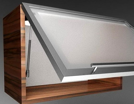 Hydraulic Shelf Kitchen : Hydraulic lift up system « aluminum glass cabinet doors