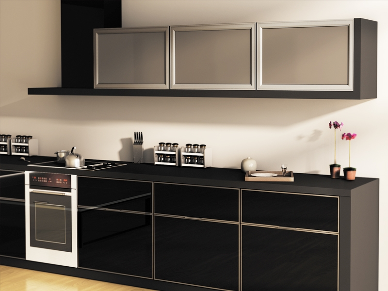 Aluminum Frame Glass Kitchen Cabinet Doors | Metal Frame ...