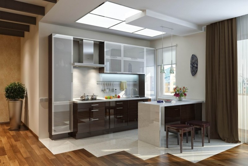Awesome Kitchen Glass Cabinet Doors Model